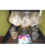 Anchor Hocking WEXFORD Punch Bowl Set 39 Pc Crystal Clear Vintage - $49.99