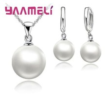 925 sterling silver White Pearl Necklace + Earrings Jewelry Set [SET-10] - $14.01