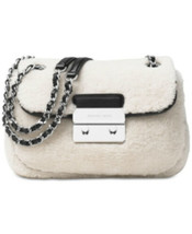 Michael Kors Sloan Shoulder Bag Crossbody Shearling Fur Leather Chain AP... - $226.39 CAD