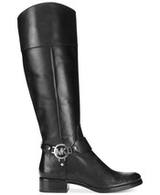 MICHAEL KORS Fulton Harness Boot Tall Knee Leather Riding Zip Black Boots 5 M - $112.17