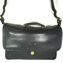 Coach Vintage Black Leather Briefcase Adjustable Strap - $135.79