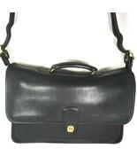 Coach Vintage Black Leather Briefcase Adjustable Strap - $135.79