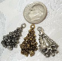 DECORATED CHRISTMAS PINE TREE FINE PEWTER PENDANT CHARM - 13mm x 22.5mm x 6mm image 3