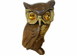 Owl Figurine Rhinestone eyes gem Great Horned Bird ceramic Sculpture sta... - $29.65