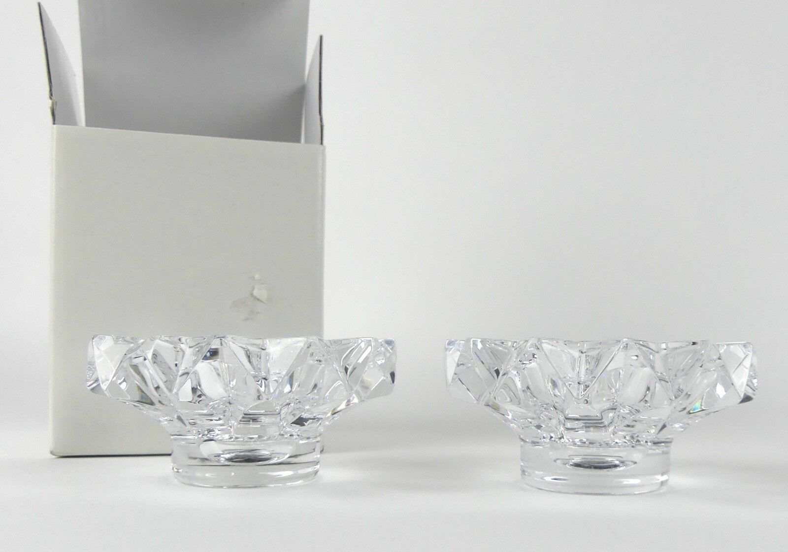 """MIKASA Candle Holder Pair Excelsior 2"""" Holds Taper or Tealight Clear NIB"""