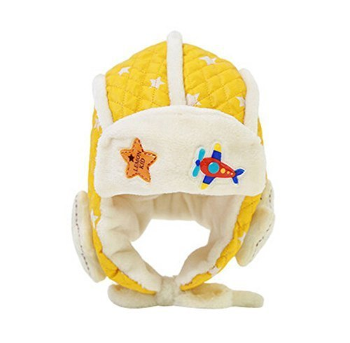 Cute Stars Earflap Baby Hats Winter Kids Hats Yellow, 6-48 Months