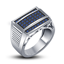 White Gold Plated 925 Sterling Silver Round Cut Blue Sapphire Men's Wedding Ring - $109.99