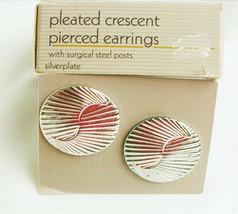 Avon earrings Pleated Crescents silver tone pierced ears MIB - $4.46
