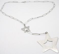 Collar Plata 925 ,Cadena Ovalados, Doble Estrella Colgante Punto, Satinado - $127.60