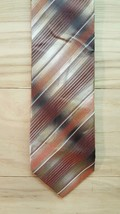 "Van Heusen Neck Tie 3.5"" Brown Striped 100% Silk Pattern Hand Made - $10.68"