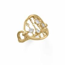 .925 Sterling Silver 14 Karat Gold Plate Chain CZ's Women's Ring - $54.36