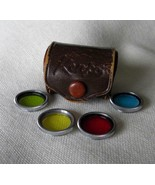 Four Kenko Lens Filters In Leather Case ; I Think Lenses Fit Argus C3 Ca... - $2.99
