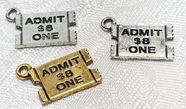 TICKET STUB ADMIT ONE FINE PEWTER PENDANT CHARM - 17mm L x 11.5mm W x 1mm D