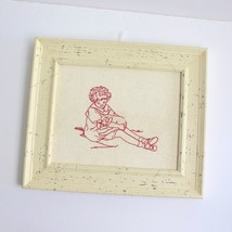 Completed Embroidery Redwork Piece Framed Joanne Hargrave Artist My Kitt... - $19.77