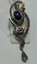 Victorian Look Rose Cut Diamond 925 Silver Sapphire Ruby Pendant Brooch - $225.02