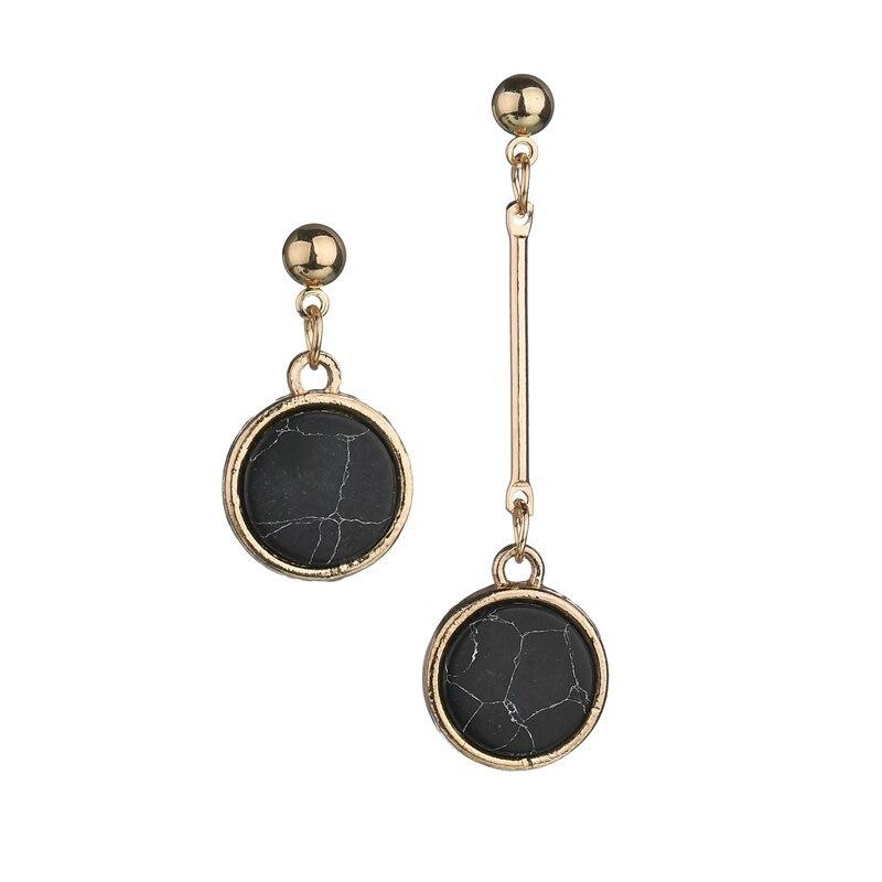 BAHYHAQ - Marble Stud Earrings for Women Round Asymmetric Long Earring