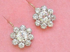 ANTIQUE 3.84ctw DIAMOND CLUSTER 18K PLATINUM COCKTAIL WIRE EARRINGS 1910... - $18,607.05