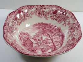 """Vtg Cereal Bowl 6.25"""" Johnson Brothers Pink / Red Mill Stream England - $29.70"""