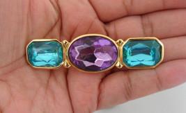 Trifari Mogul Bar Brooch Rectangle Brooch Trifari Jewelry 3 Stone Brooch - $59.00