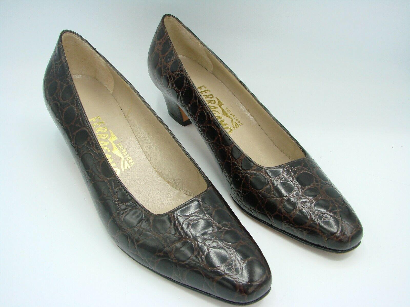 SALVATORE FERRAGAMO Women Shoes Polished Genuine Leather  8 1/2 AA 17666-149 image 2