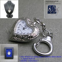 Silver HEART Style Antique Lady Pendant Watch Key Chain Necklace Gift Bo... - $10.44