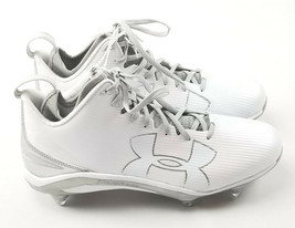Under Armour Men's Fierce D Football Cleats 11.5 /12.5 White Silver 1269739-103 - $29.69