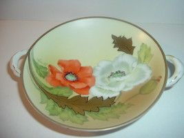 Petite Handpainted Bavaria Artist signed Poppies Compote or Mint Dish - $16.99