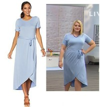Soft Cozy Loungewear Cool Luxe Knit WrapSkirt Dress, Chambray, XL - $29.69