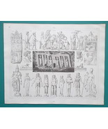ART of Middle East Egypt Persia Numibia Phoenicia India - 1844 Superb Print - $19.80
