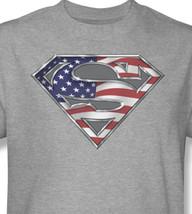 Superhero tee superman logo shield american flag dc gray for sale online graphic tshirt thumb200