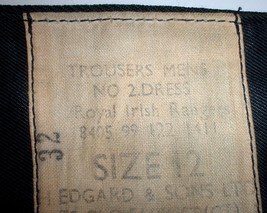 British Army Royal Irish Rangers No. 2 dress trousers 1999; size 12 (28X29) - $25.00
