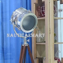 Vintage Industrial Designer Chrome Nautical Spot Light Search light Tripod Floor - $246.51