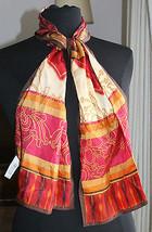 Adrienne Landau Long Scarf Wrap Womens Silk Geo... - $17.42
