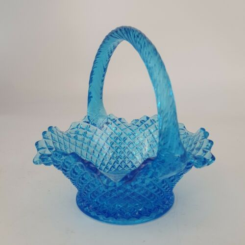 "Primary image for Vintage Fenton Blue Opalescent 6"" Basket"