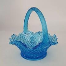 """Vintage Fenton Blue Opalescent 6"""" Basket - $39.59"""