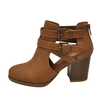 Soda SCRIBE-S Tan Women's Double Buckle Ankle Strap Booties - $27.95