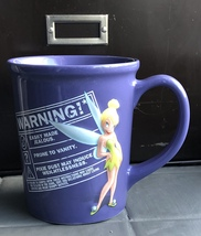"Disney Store ""Warning"" Tinkerbell Purple Mug Raised 3D Design Made in Thailand - $18.89"