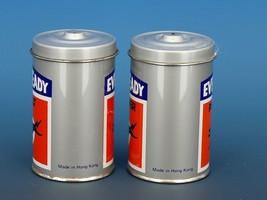 Vintage Novelty Salt & Pepper Shaker Set Hong Hong Metal EVEREADY Batteries image 2