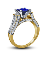 14k Yellow Gold Finish 925 Sterling Silver Womens Blue Sapphire Engageme... - $73.99