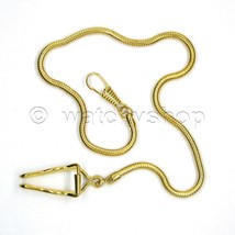 "14"" Gold SNAKE Pocket Watch Chain Fob Chain Link Curb Men Fashion Access... - $13.04"
