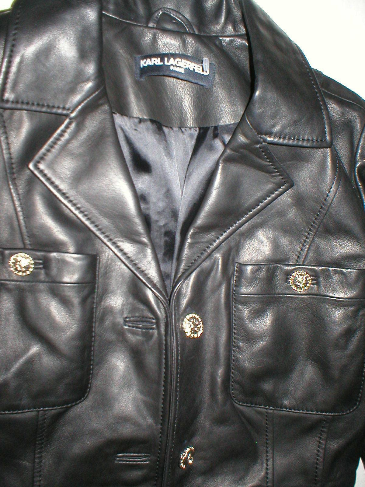 New Womens S Soft Karl Lagerfeld Paris Leather Jacket Black Silver Designer Lamb image 8