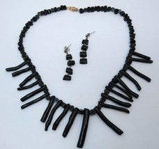 Vintage Natural Black Branch Coral Necklace and Earring Set Graduated - $75.00