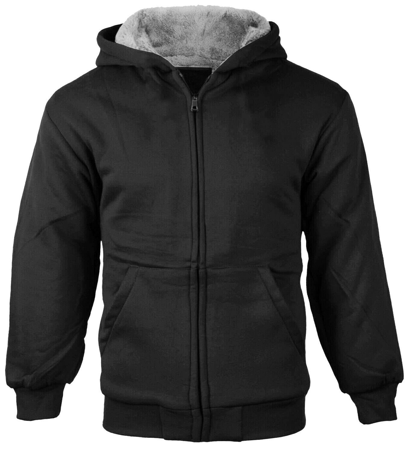 Boys Kids Toddler Sherpa Fleece Hoodie Black Sweater Jacket w/ Defect - M