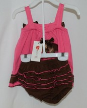 I Love Baby Hot Pink Brown Sun Dress Ruffle Bloomers Size 80cm 1 to 2 Year Old image 2