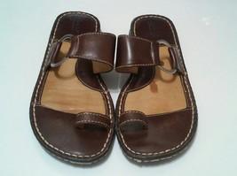 Born Handmade Footwear Womens Brown Leather Toe Loop Flip Flop Sandals, ... - $57.95