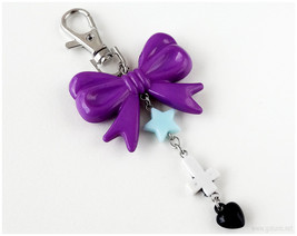 Pastel Goth Zipper Pull Charm, Inverted Cross Keychain, Kawaii, Jfashion - $8.00