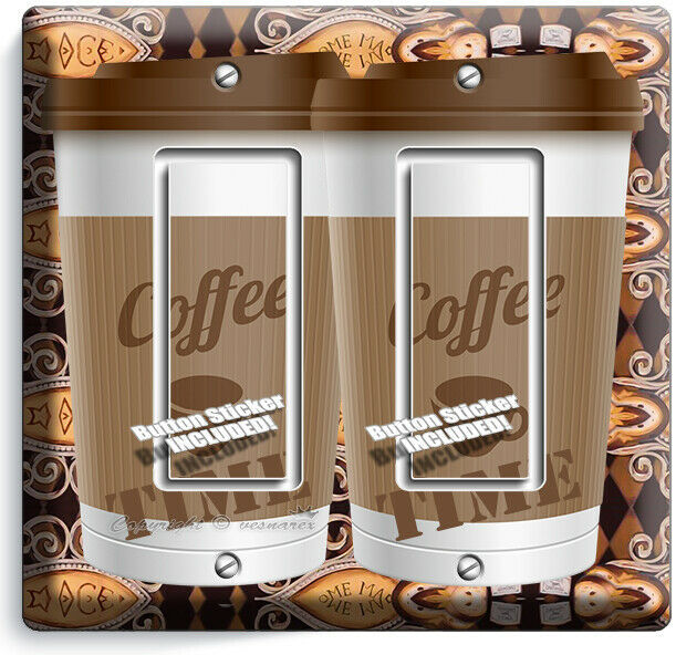 COFFEE TIME PAPER CUP LIGHT SWITCH OUTLET PLATE ROOM KITCHEN CAFE SHOP ART DECOR image 7