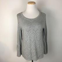 LOFT Ann Taylor Women's Scoopneck Crocheted Knit Gray Sweater Size Medium  - $15.83