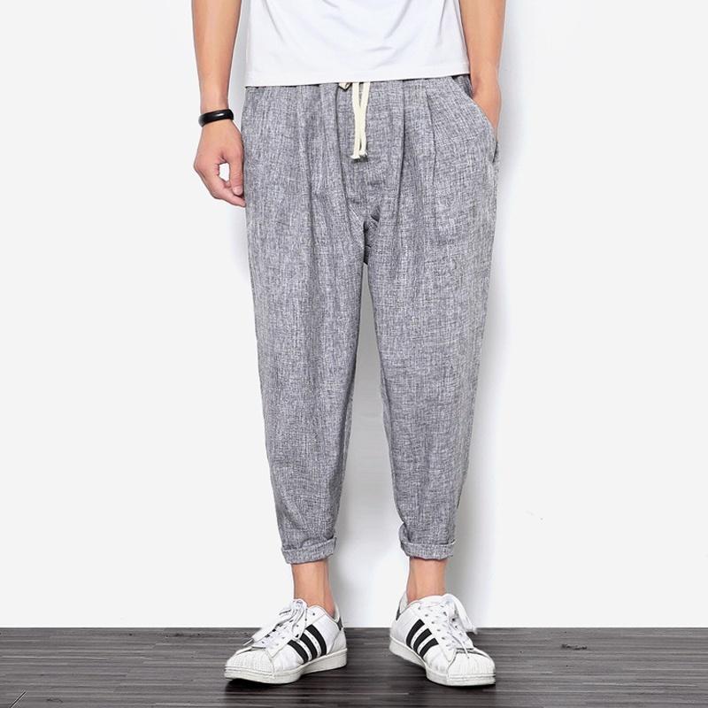 2018 New Summers Linen Pants Men Casual Ankle-Length Harem Pants Solid Linen Cot image 4