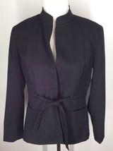 AK Anne Klein Black Wool Polyester Blend Two-Snap Blazer Petites 8P Clot... - $18.69